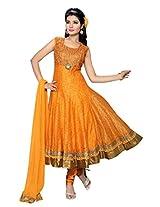 Charu Boutique Women Silk Salwar Suit Set (Cbf1657L _Orange _Large)
