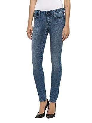 Replay Damen Skinny Jeanshose Luz, Gr. W27/L34 (Herstellergröße: 27), Blau (Marble 9)