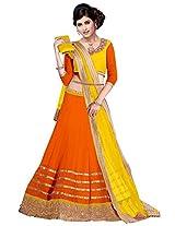 Vibes Women's 60gm Georgette Unstiched Party Wear Lehenga Choli (L13-25005_Orange)