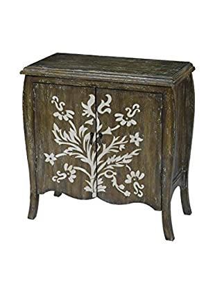 Luxury Home Artisan 2-Door Cream Floral Reclaimed Gray Accent Chest, Multi