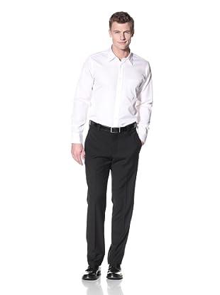 Incotex Ivory Men's Wool Flat Front Trouser (Black)
