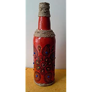 Artiliciously Your'S Mehendi2 Painting On Recycled Glass Bottle