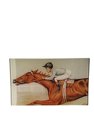 Twigs and Moss Vanity Fair Jockey on Horse Glass Tray
