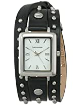 Vernier Women's VNR11154BK Vernier Silver-Tone Watch with Studded Wraparound Leather Strap