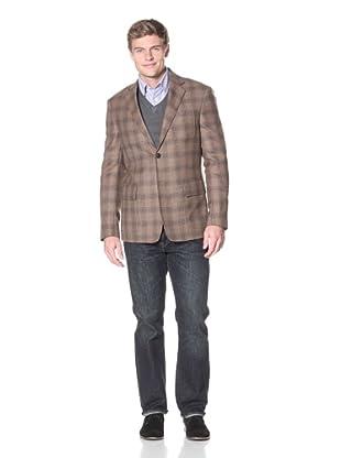 Billy Reid Men's Rustin Plaid Patch Sport Coat (Brown)