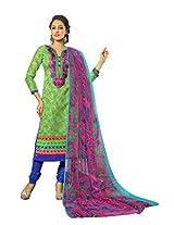 Suchi Fashion Embroidered Green & Blue Chanderi Dress Material