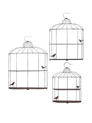 Set of 3 Metal Birdcage Shelves