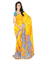 Sonal Trendz Yellow & Blue Color Printed Saree. Weightless Fabric Printed Saree with Lace & Blouse. Festive Wear.