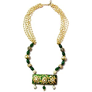 Daamak Jewellery Pearls Necklace Set With Enameled Pendant