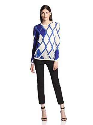 Pringle of Scotland Women's Linked Argyle Crewneck Sweater (Off White/Blue)
