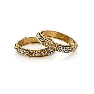 Voylla Bold And Glamorous Set Of 2 Kada With CZ Stones [Jewellery]