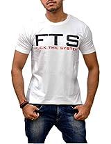 Londonhouze Men's Round Neck T-Shirt (LHW3D007XL_White_X-Large)