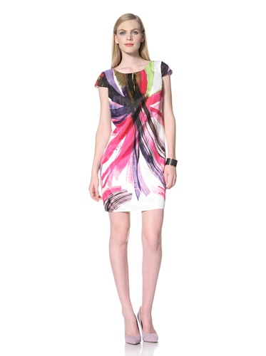 Ellen Tracy Women's Cap Sleeve Printed Dress (Multi)