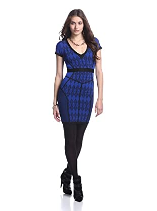Stretta Women's Dion Stretch Dress (Black/Cobalt)