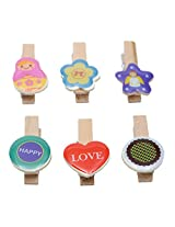 Wooden Clips Set of 6 Decorative Colour Full ...collection Happy Love