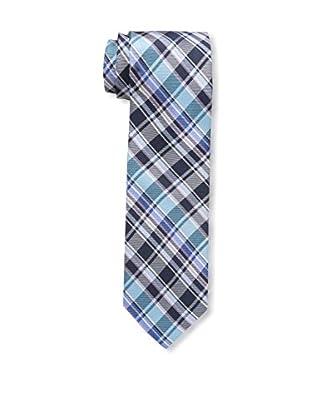 Bruno Piattelli Men's Plaid Tie, Navy Teal
