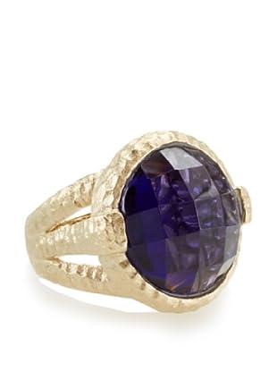 Rivka Friedman Faceted Round Iolite Hammered Bezel Ring