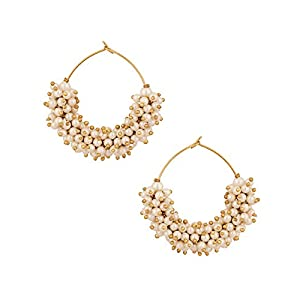 Pair Of Hoop Earrings Adorn With Pearls