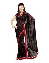 Sanskar Fashion Black Chiffon Patch Work Saree