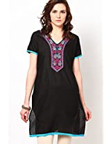 Printed Black Kurta