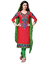 7 Colors Lifestyle Red Coloured Embroidery & Printed Cotton Unstitched Dress Material