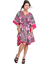 Exotic India Floral Printed Short Kaftan with Dori at Waist - Color Pink And GreenGarment Size Free Size