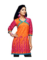 Karishma Suit - FREE Maybelline Colossal Kajal MRP 199 - s Orange-Pink Printed Pure Cotton jacquard ï¿1/2 Unstitched Kurti Fabric For Women | KLVPG01