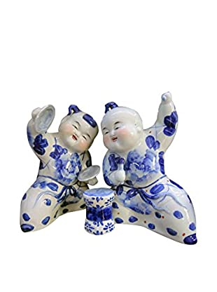 Asian Loft Set of 2 Handcrafted Ceramic Leaning Children Playing Music, Blue/White