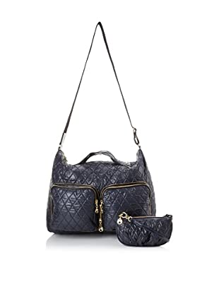 Three by Clava Women's Quilted Foldable Overnighter (Navy)
