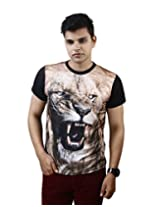 Posh 7 3D Angry Lion T Shirt for Men -Small