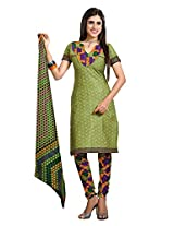 Divisha Fashion Green Cotton Printed Churiddar Suit with Dupatta