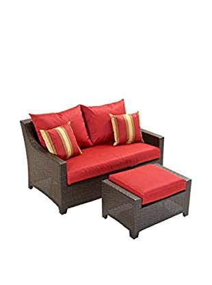 RST Brands Deco Loveseat & Ottoman Set, Red