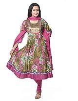 Green Printed Cotton Anarkali Suit