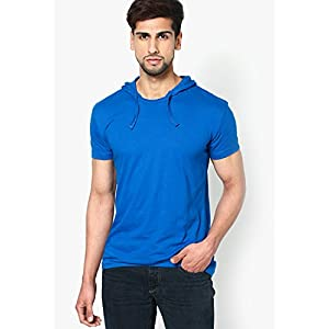 Blue Solid Half Sleeve Hooded T-Shirt