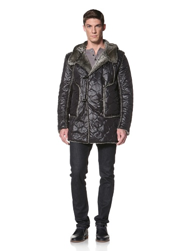 LOVE Moschino Men's Quilted Jacket with Faux Fur Lining (Black)
