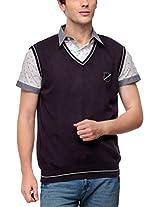 Yepme Men's Cotton Sweater (YPMSWEAT0026_Purple_X-Large)