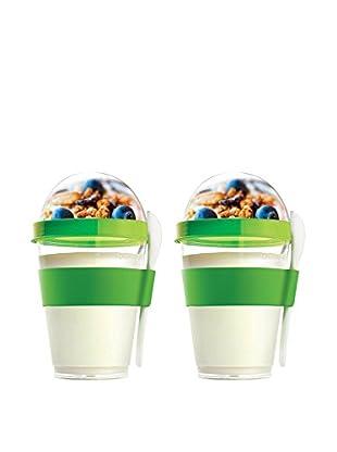 asobu Set of 2 YO2GO Yogurt Containers, Lime