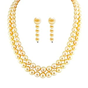 "Trendy Souk -- Rossa -- Two Strings Gold Colored South Sea Shell (6-8 mm) Pearls 16-18"" with matching dangle earrings Necklace Set"