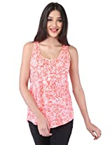 Purys Women's Printed Top (E-200869SP-4506_Orange White_XL)