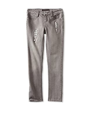 Baby Phat Girl's 7-16 Rips and Sequins Jean (Charcoal)