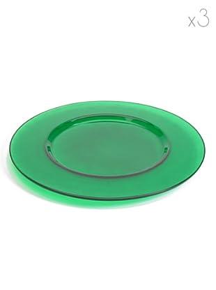 Pasabahce Set 3 Sottopiatti Arte (Verde)