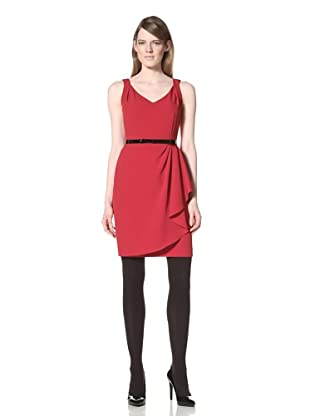 Chetta B Women's Side Draped Dress with Belt (Bali Red)