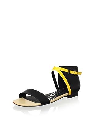 Kelsi Dagger Women's Kacie Sandal (Black/Neon Yellow/Beige)