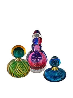 Dale Tiffany Set of 3 Apollo Perfume Bottles, Green/Pink/Blue