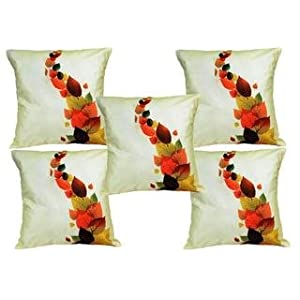 Mesleep Painted Cushion Covers Leaves In Different Shades Of Life - Set Of 5 Pcs