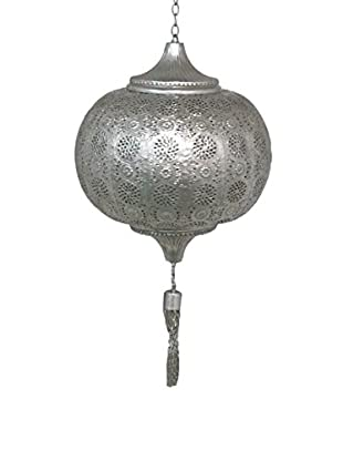 Three Hands Tassel Metal Lantern, Silver