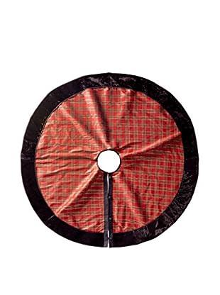 Winward Metallic Velvet Dupion Tree Skirt, Burgundy/Black