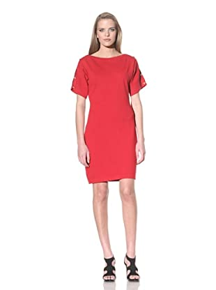 Calvin Klein Women's Short Sleeve Knit Dress with Button Detail (Red)