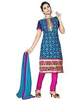 Viva N Diva Blue Color Chanderi Cotton Suit.