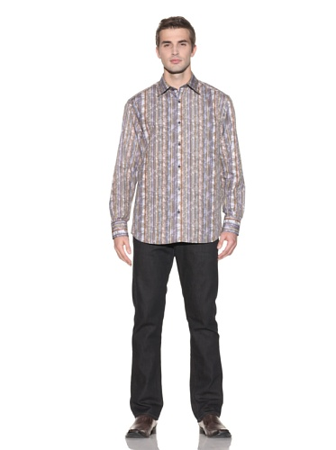 Jhane Barnes Men's Denim Glow Long Sleeve Button-Up (Copper)